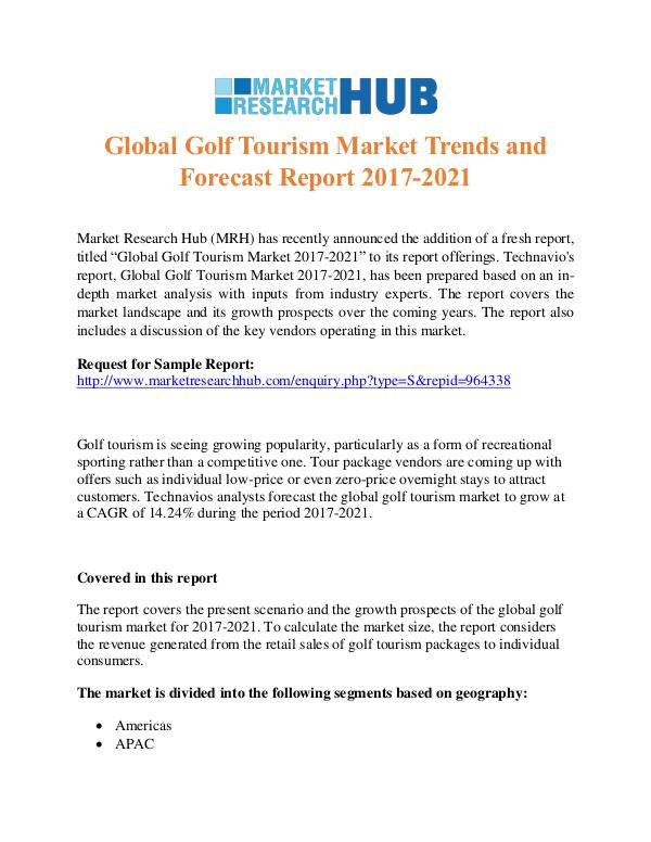 Market Research Report Global Golf Tourism Market Trends Report