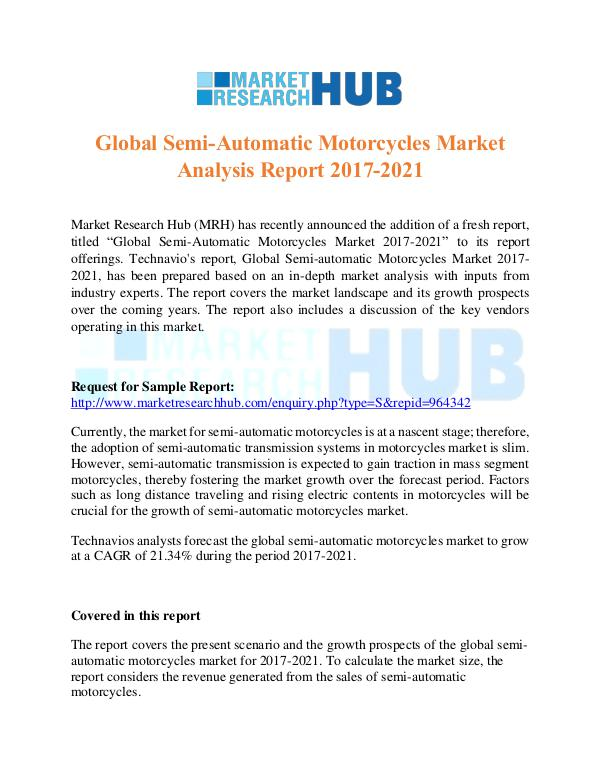 Market Research Report Global Semi-Automatic Motorcycles Market Report