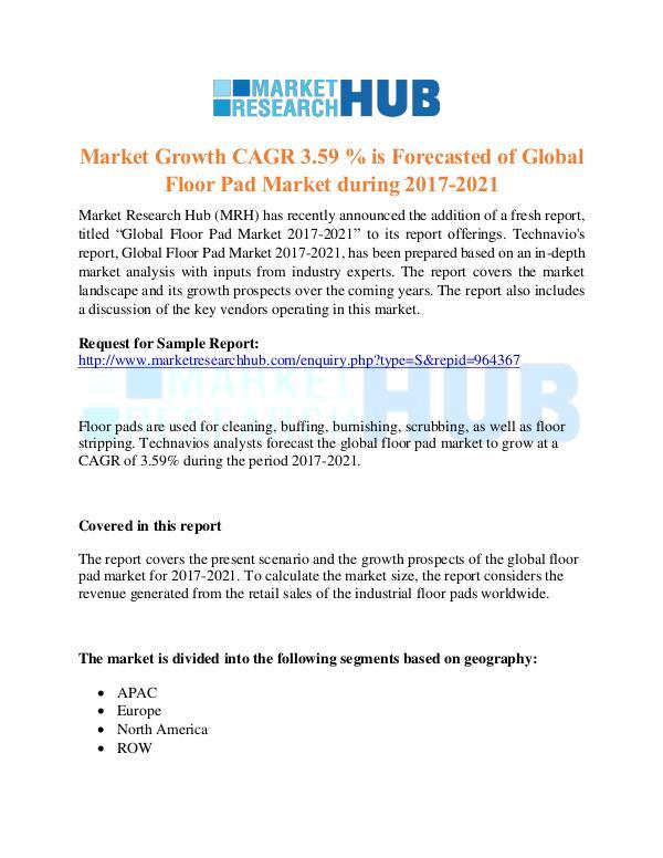 Market Research Report Global Floor Pad Market Research Report 2021
