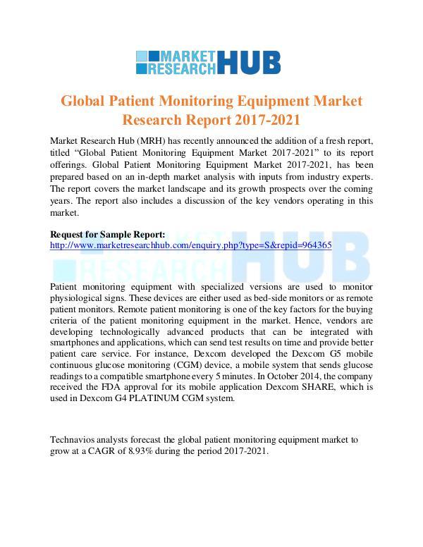 Market Research Report Global Patient Monitoring Equipment Market