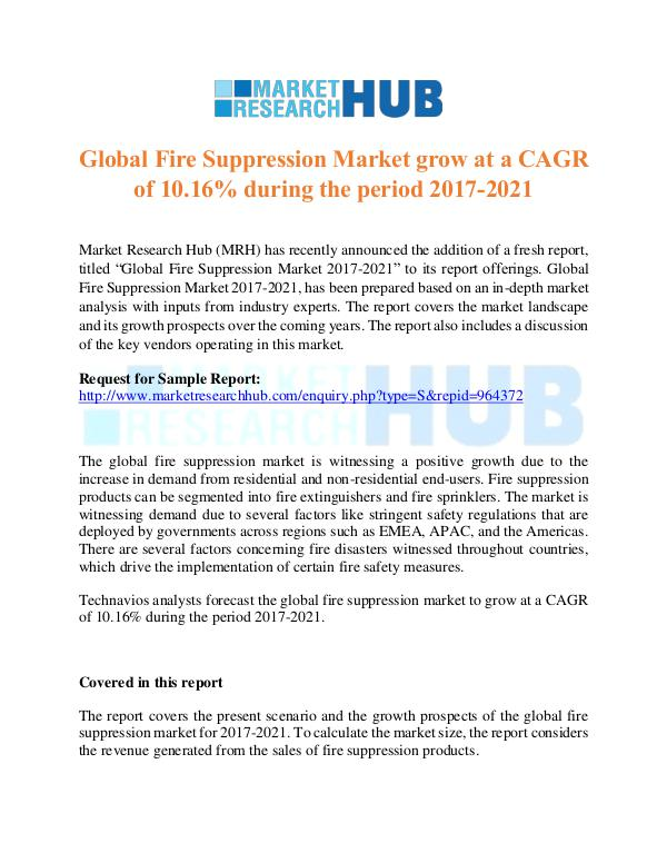Market Research Report Global Fire Suppression Market  Report 2017