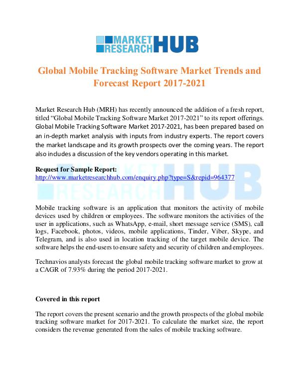 Market Research Report Global Mobile Tracking Software Market Trends