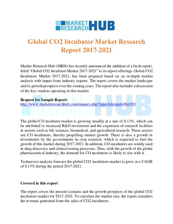 Market Research Report Global CO2 Incubator Market Research Report 2017