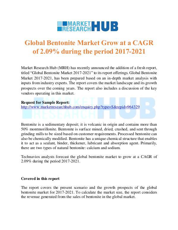 Market Research Report Global Bentonite Market Report