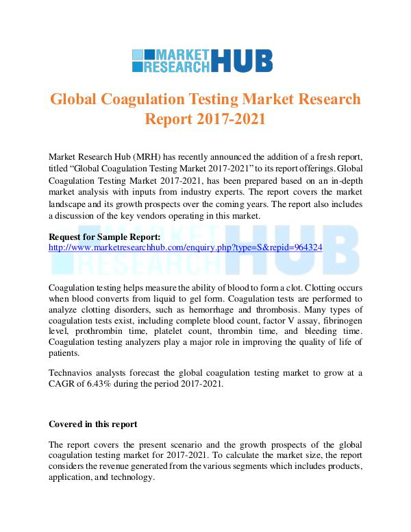Market Research Report Global Coagulation Testing Market Research Report