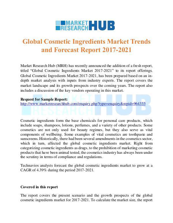 Market Research Report Global Cosmetic Ingredients Market Trends Report