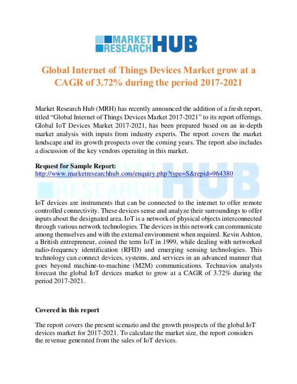 Market Research Report Global Internet of Things Devices Market Report