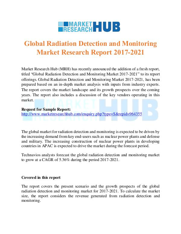 Market Research Report Radiation Detection and Monitoring Market Report