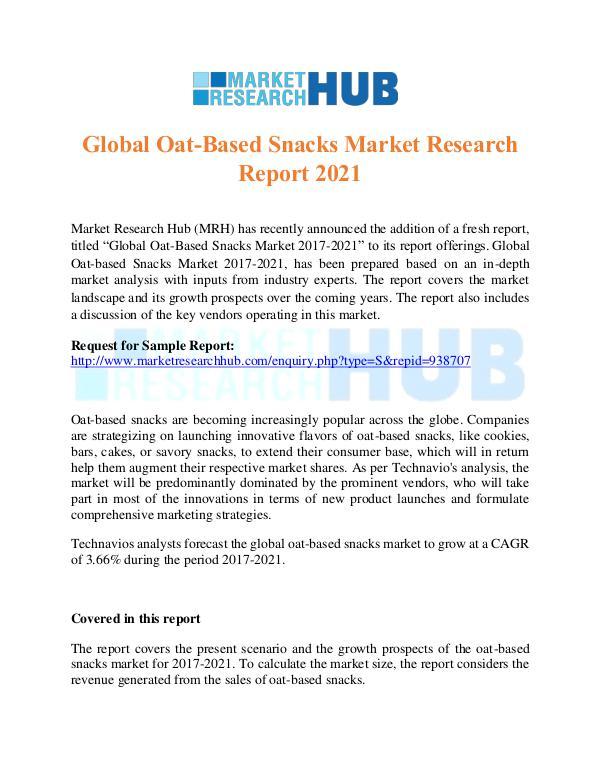 Market Research Report Global Oat-Based Snacks Market Research Report