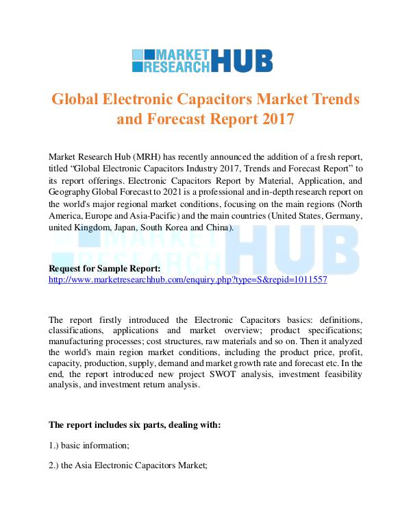 Market Research Report Global Electronic Capacitors Market ResearchReport