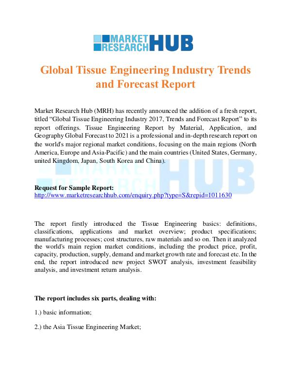 Market Research Report Global Tissue Engineering Industry Trends Report