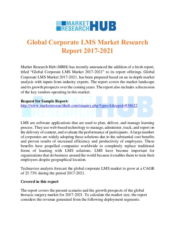 Market Research Report Global Corporate LMS Market Research Report 2017