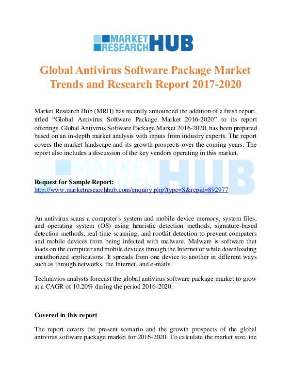 global antivirus software package market 2014 2018