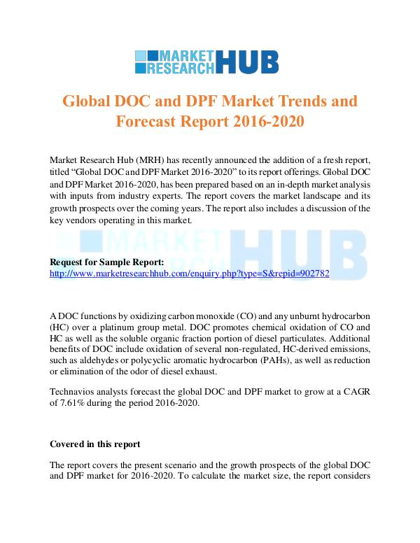 Market Research Report Global DOC And DPF Market Trends Report