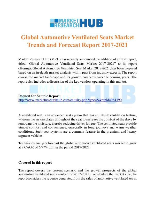Market Research Report Global Automotive Ventilated Seats Market Trends