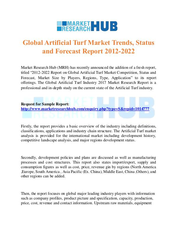 Market Research Report Global Artificial Turf Market Trends Report