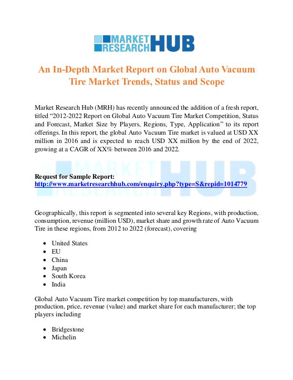 Market Research Report Global Auto Vacuum Tire Market Research Report