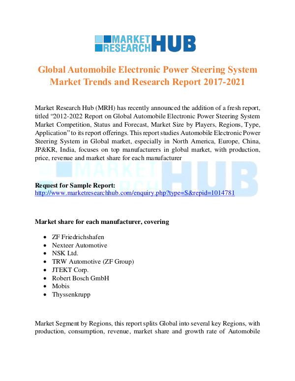 Market Research Report Automobile Electronic Power Steering System Market