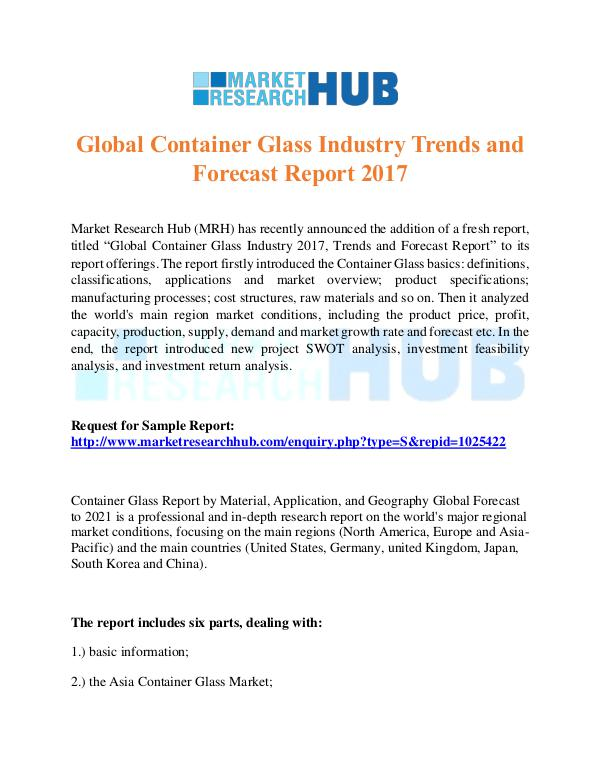 Market Research Report Container Glass Industry Trends and ForecastReport