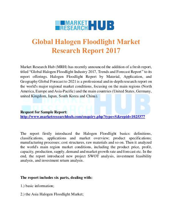 Market Research Report Global Halogen Floodlight Market Research Report