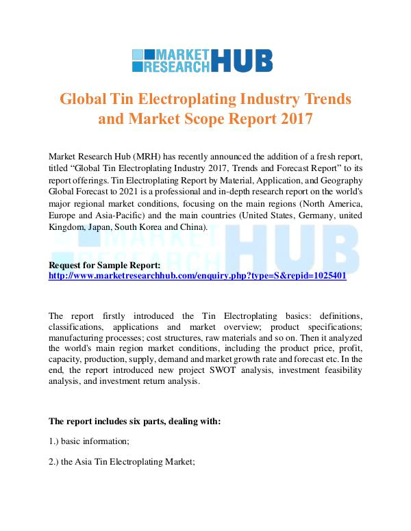 Market Research Report Tin Electroplating Industry Trends and MarketScope