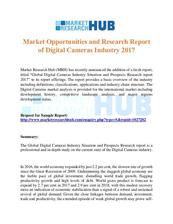 Market Research Report Digital Cameras Industry Report 2017