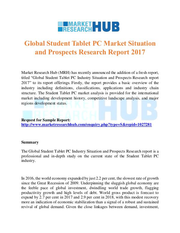 Market Research Report Global Student Tablet PC Market Report