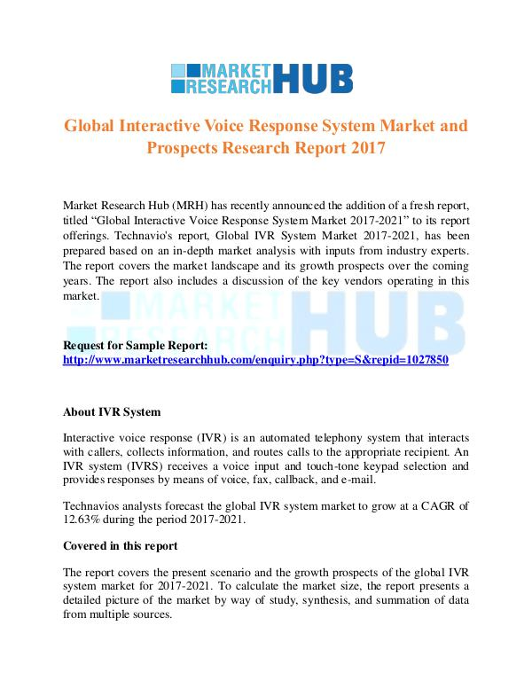 Market Research Report Interactive Voice Response System Market Report
