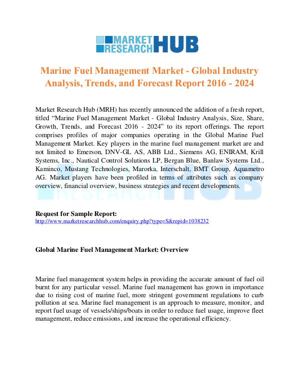 Market Research Report Marine Fuel Management Industry Report