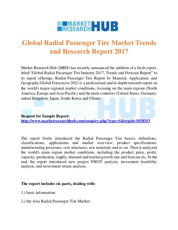 Market Research Report Global Radial Passenger Tire Market Report 2017