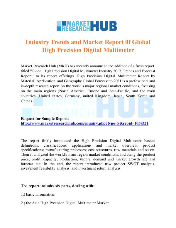 Market Research Report High Precision Digital Multimeter Market Report