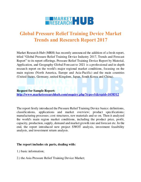 Market Research Report Global Pressure Relief Training Device Report
