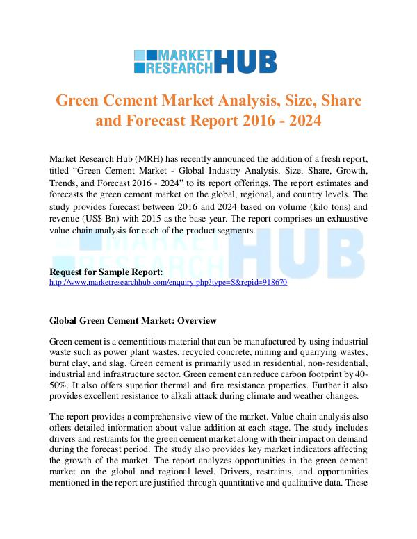 Market Research Report Green Cement Market Research Report 2017