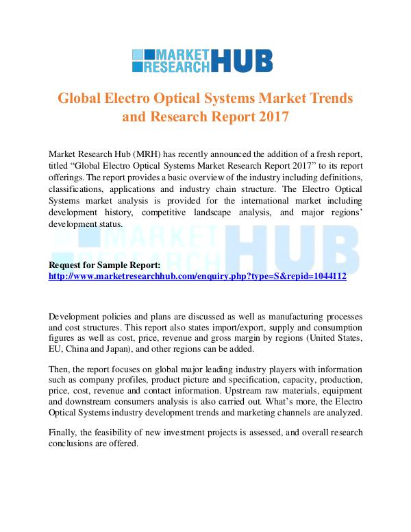 Market Research Report Global Electro Optical Systems Market Report