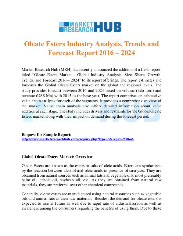 Market Research Report Oleate Esters Industry Analysis Repport