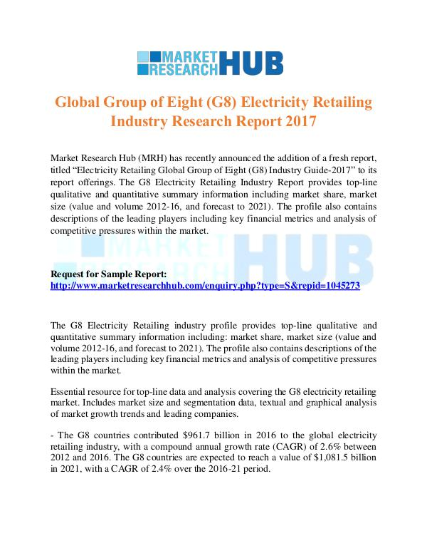 Market Research Report G8 Electricity Retailing Industry Research Report