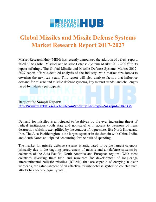 Market Research Report Missiles and Missile Defense Systems Market Report