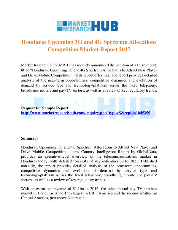 Market Research Report Honduras 3G and 4G Spectrum Allocations Market