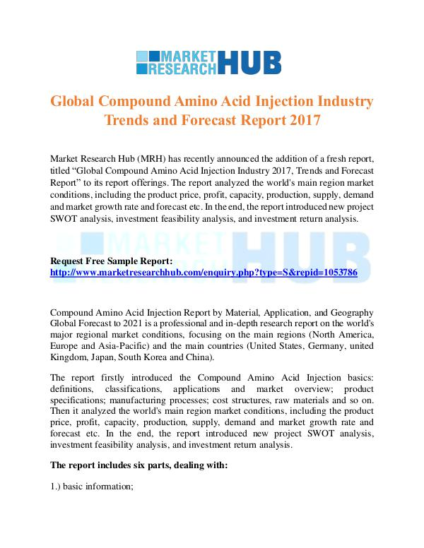 Market Research Report Global Compound Amino Acid Injection Industry