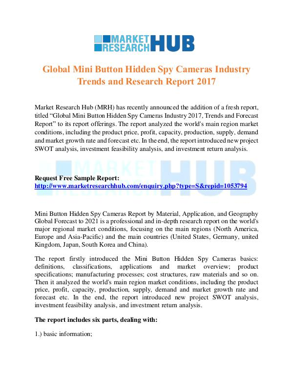Market Research Report Global Mini Button Hidden Spy Cameras MarketReport