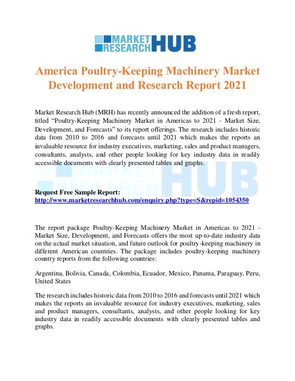 Market Research Report America Poultry-Keeping Machinery Market Report