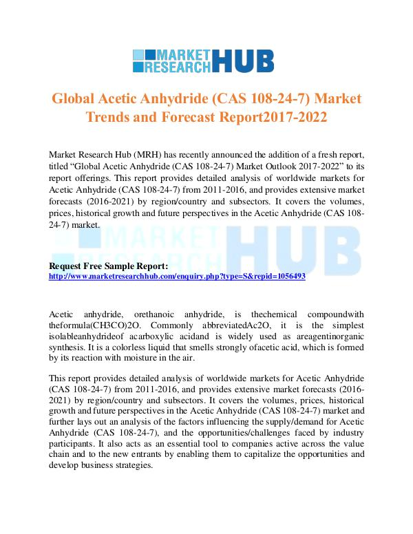 global research acetic anhydride market and Global acetic anhydride (cas 108-24-7) market trends and forecast report2017-2022 market research hub (mrh) has in the acetic anhydride (cas 108-24-7) market and further lays out an analysis of the factors influencing the supply/demand for acetic anhydride (cas 108-24-7), and the.