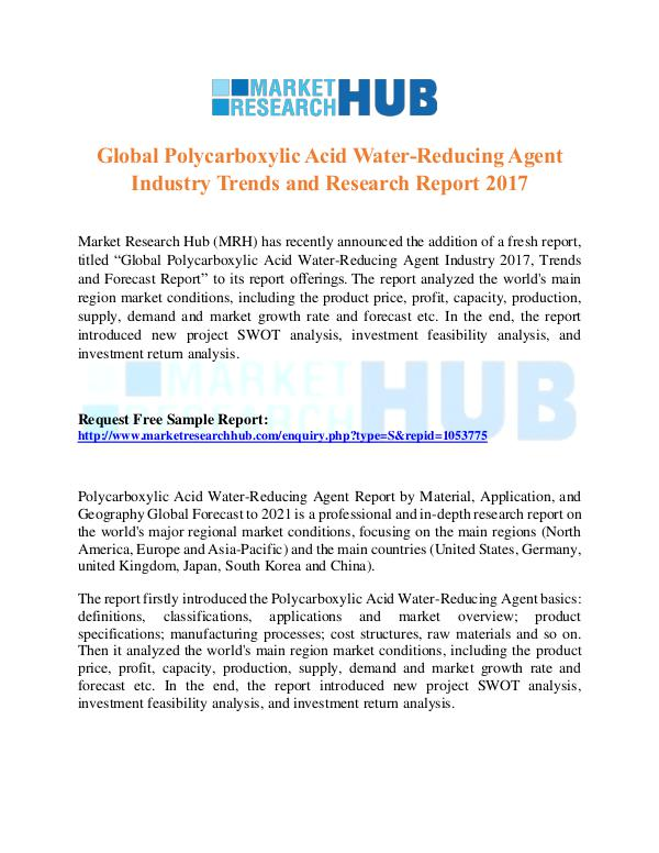 Market Research Report Polycarboxylic Acid Water-Reducing Agent Market