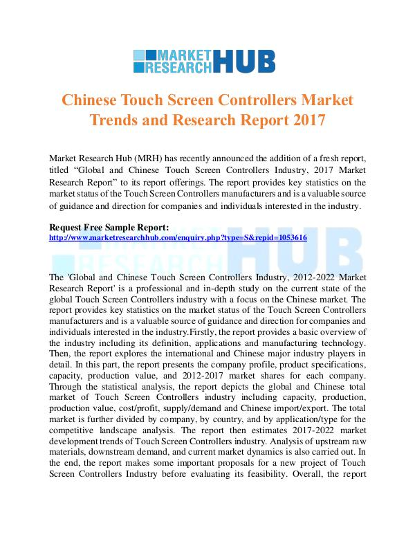 Market Research Report Chinese Touch Screen Controllers Market Report
