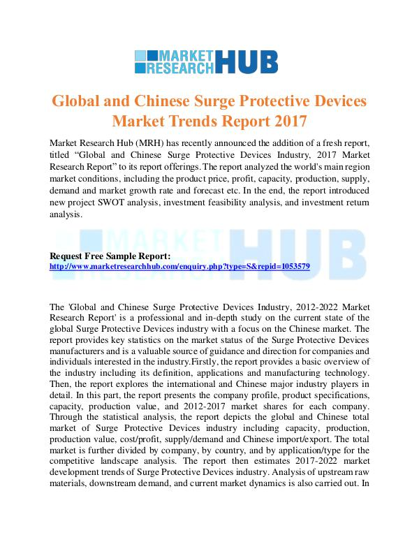 Market Research Report Chinese Surge Protective Devices Market  Report