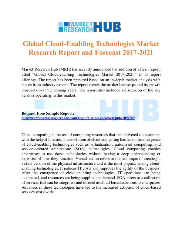 Market Research Report Cloud-Enabling Technologies Market  Report 2017