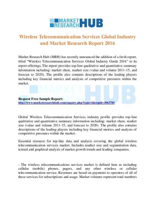 Market Research Report Wireless Telecommunication Services Market ...