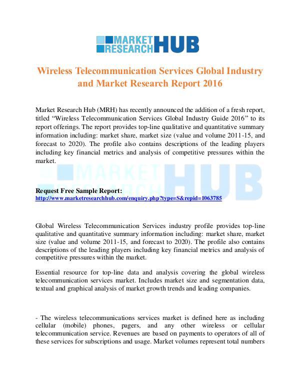 Market Research Report Wireless Telecommunication Services Market Report
