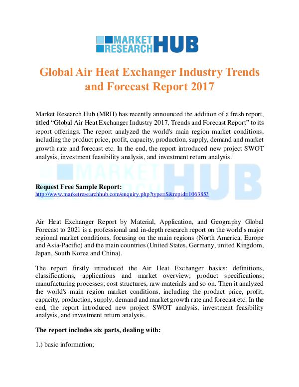 Market Research Report Global Air Heat Exchanger Industry Trends Report