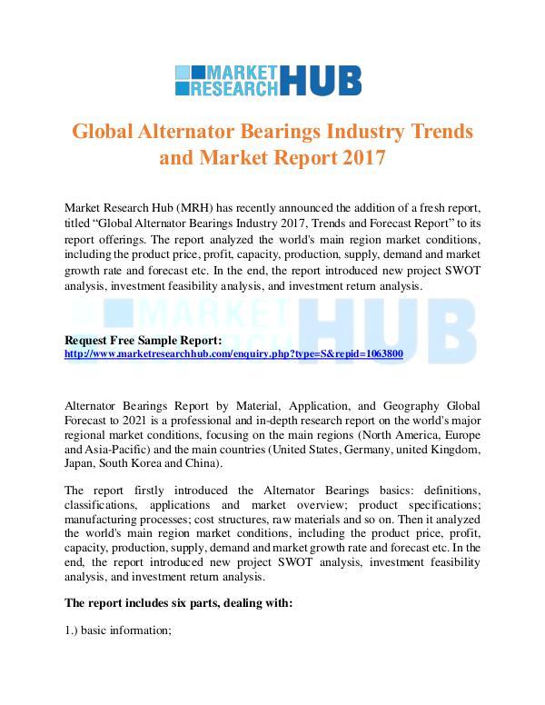 Market Research Report Global Alternator Bearings Industry Trends Report